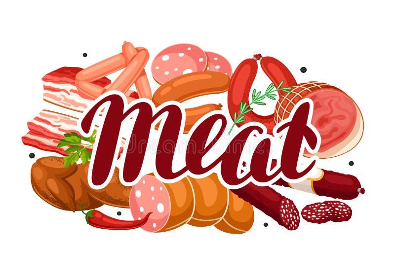 Bakgrund med köttprodukter Illustration av korvar, bacon och skinka stock illustrationer