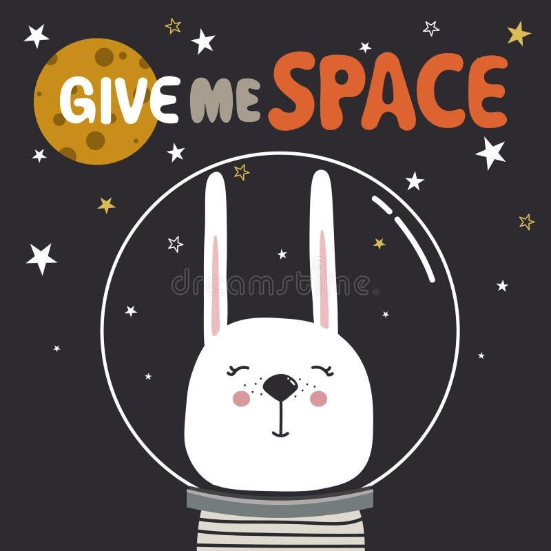 Bakgrund med kanin, stjärnor, måne, text Ge mig utrymme vektor illustrationer