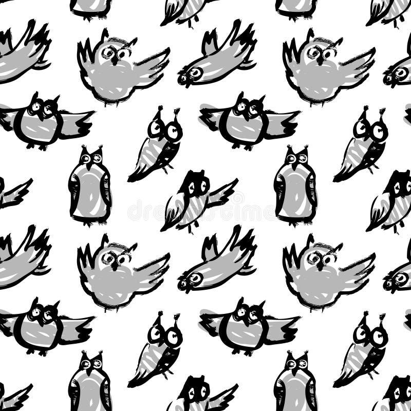Bakgrund med knapphändiga ugglor Vektorfärgpulverillustration med fågeln stock illustrationer