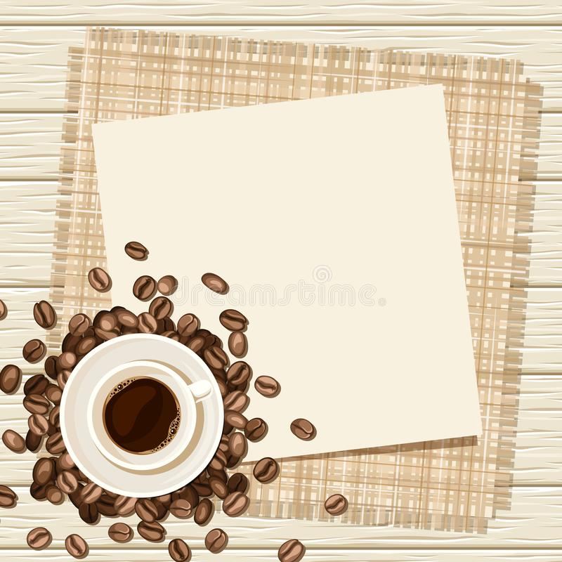 Bakgrund med kopp kaffe- och kaffebönor också vektor för coreldrawillustration stock illustrationer