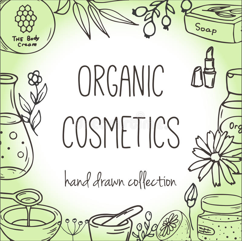 Bakgrund med kosmetiska flaskor Organisk skönhetsmedelillustration vektor illustrationer