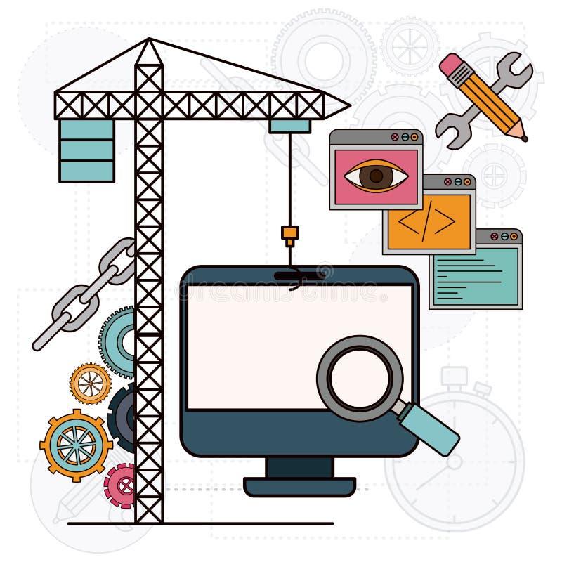 Bakgrund med kran- och skrivborddatoren för utveckling av konstruktionen royaltyfri illustrationer