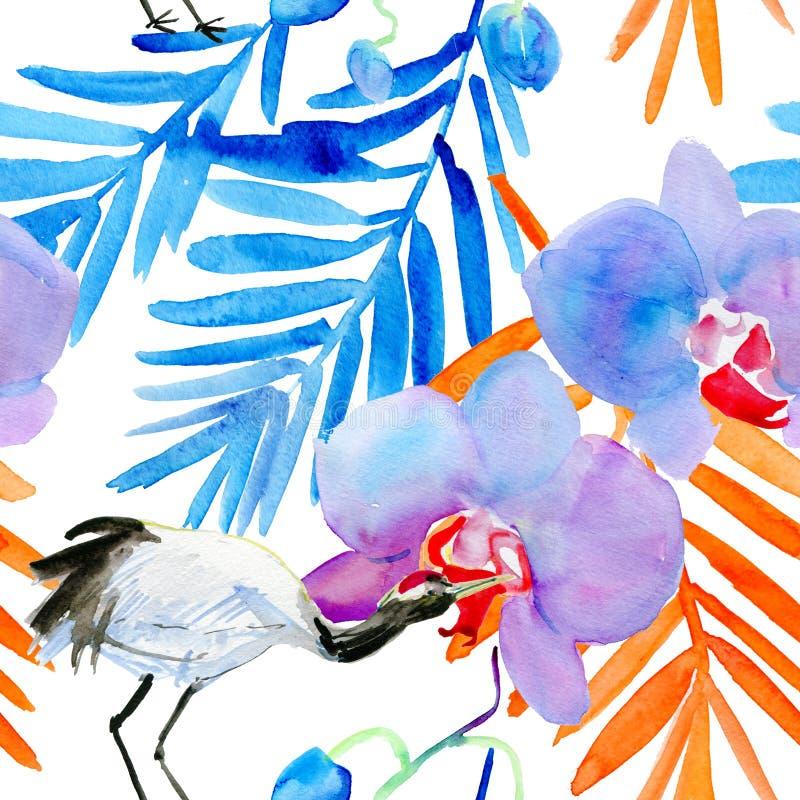 Bakgrund med kranen och blommor royaltyfri illustrationer