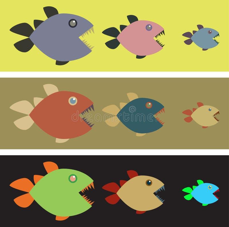 Bakgrund med kulöra piranhas royaltyfri illustrationer