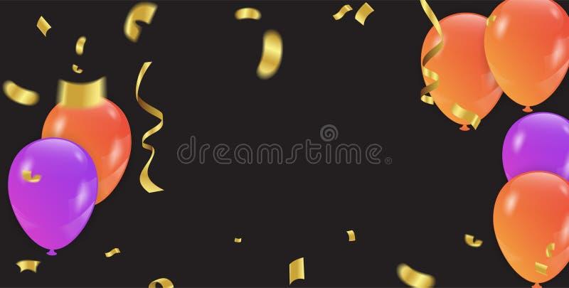 Bakgrund med lilor och apelsinballonger och konfettier vektor royaltyfri illustrationer
