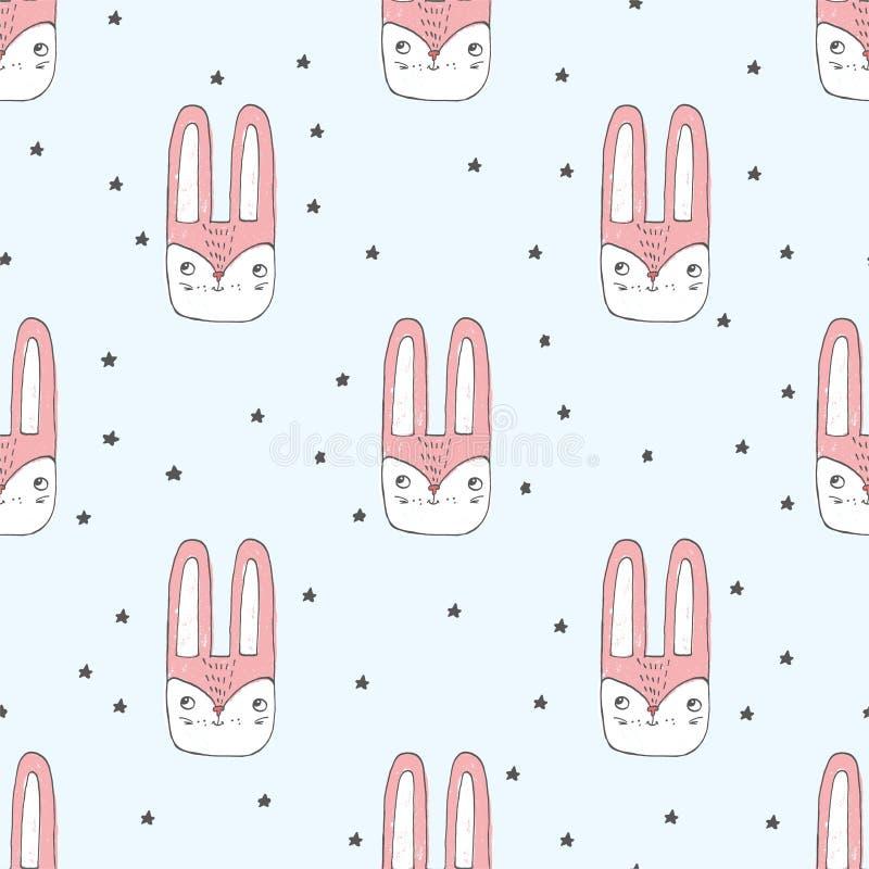 Bakgrund med liten kanin` s heads bland stjärnor gå i ax länge för mode, papper, rengöringsduk Skissa bilden royaltyfri illustrationer