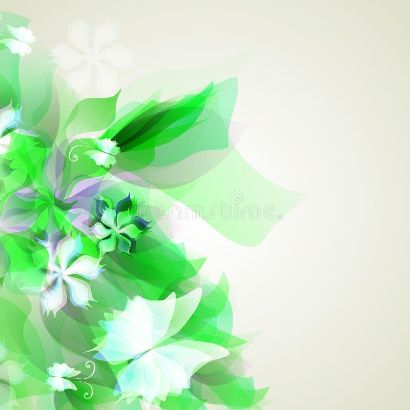 Bakgrund med ljus - gröna abstrakt begreppblommor vektor illustrationer