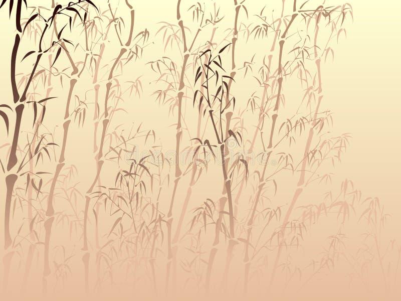 Bakgrund med många bambu från mist. stock illustrationer