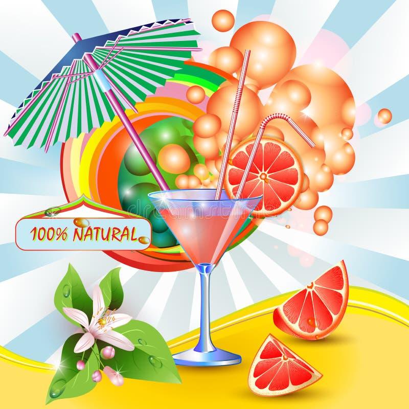Bakgrund med ny grapefruktfruktsaft vektor illustrationer