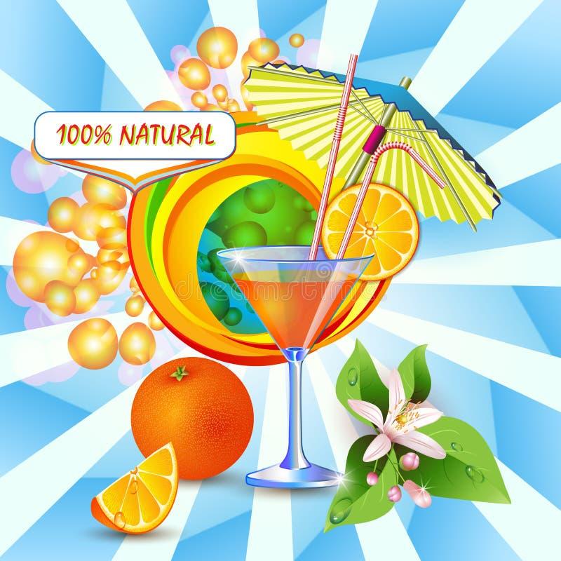 Bakgrund med ny orange fruktsaft stock illustrationer