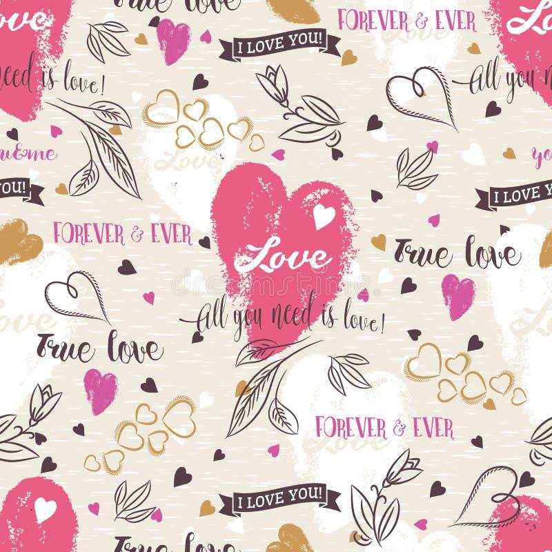 Bakgrund med röd valentinhjärta, blomma, önskar text, vec stock illustrationer