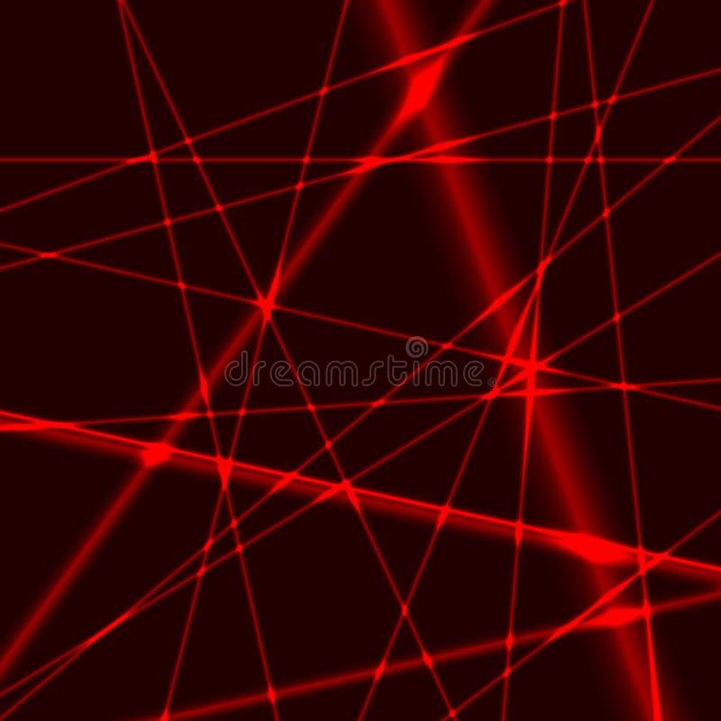 Bakgrund med röda slumpmässiga strålar för laser royaltyfri illustrationer