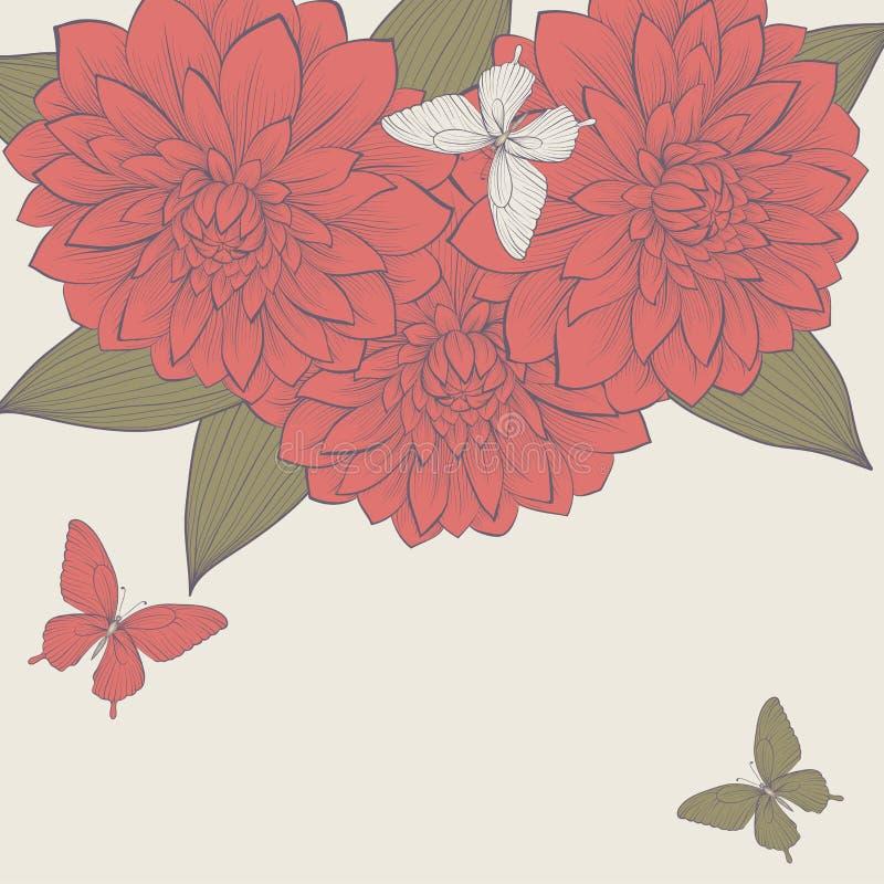 Bakgrund med ramen av blommor och fjärilar. royaltyfri illustrationer