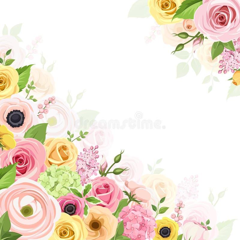 Bakgrund med rosa färger, apelsinen och guling blommar också vektor för coreldrawillustration royaltyfri illustrationer