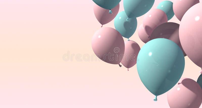 Bakgrund med rosa och blåa ballonger på mjuk bakgrund framförande 3d stock illustrationer