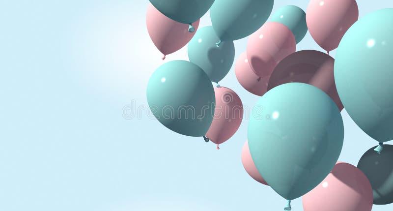 Bakgrund med rosa och blåa ballonger på mjuk bakgrund framförande 3d royaltyfri illustrationer