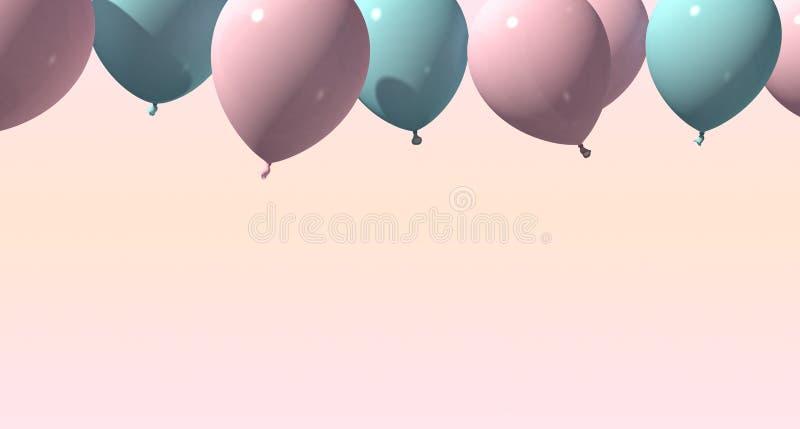 Bakgrund med rosa och blåa ballonger på mjuk bakgrund framförande 3d vektor illustrationer