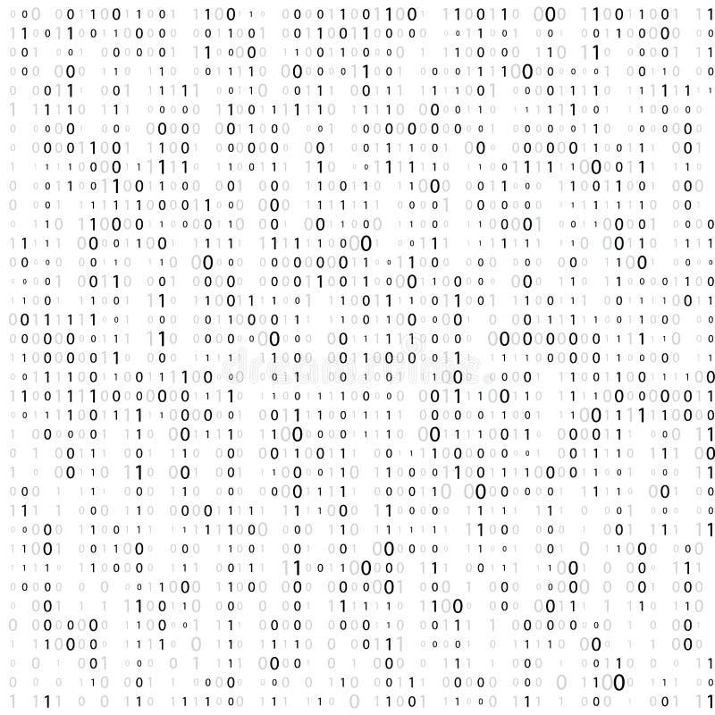 Bakgrund med siffror p? sk?rmen Bin?r kod noll en matrisvitbakgrund baner modell, tapet abstrakt matris stock illustrationer