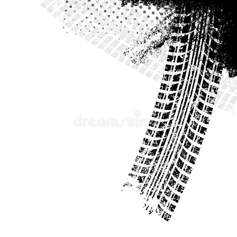Bakgrund med spåret för grungesvartgummihjul, vektor illustrationer