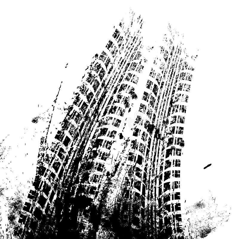 Bakgrund med spåret för grungesvartgummihjul, stock illustrationer