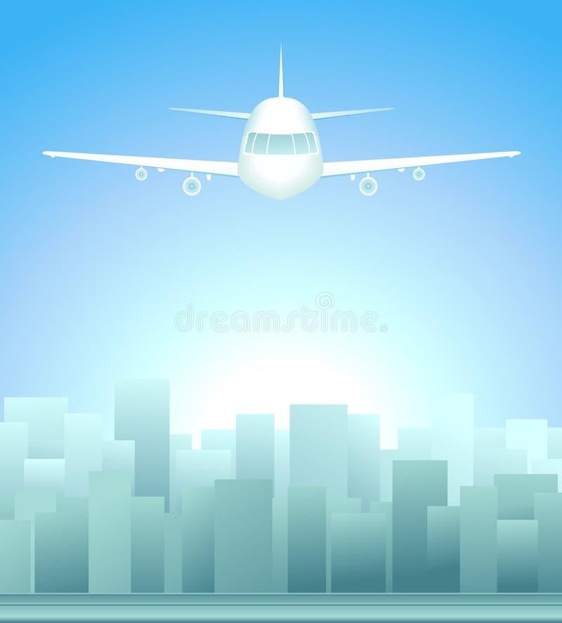 Bakgrund med staden och nivå i sky vektor illustrationer