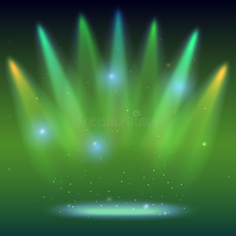 Bakgrund med strålar av ljus från de kulöra strålkastarna Ljus belysning med färgläggningstrålkastare, projektor skinet vektor illustrationer