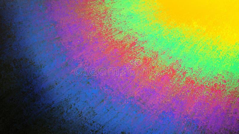 Bakgrund med strimmor av gul rött för blå rosa purpurfärgad gräsplan och svart i bandfärgeffekt stock illustrationer
