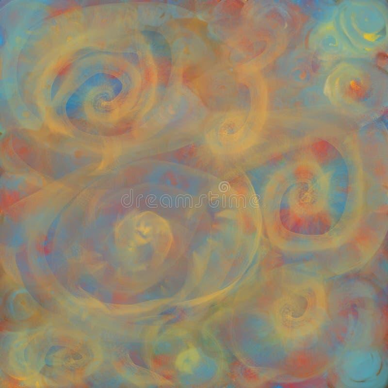 Bakgrund med suddig textur av glödande genomskinliga spiral eller kulöra gula runda linjer för textiler, affischer eller stock illustrationer