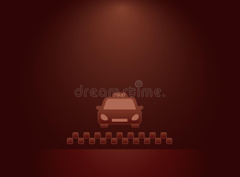 Bakgrund med taxibil- och taxisymbol vektor illustrationer