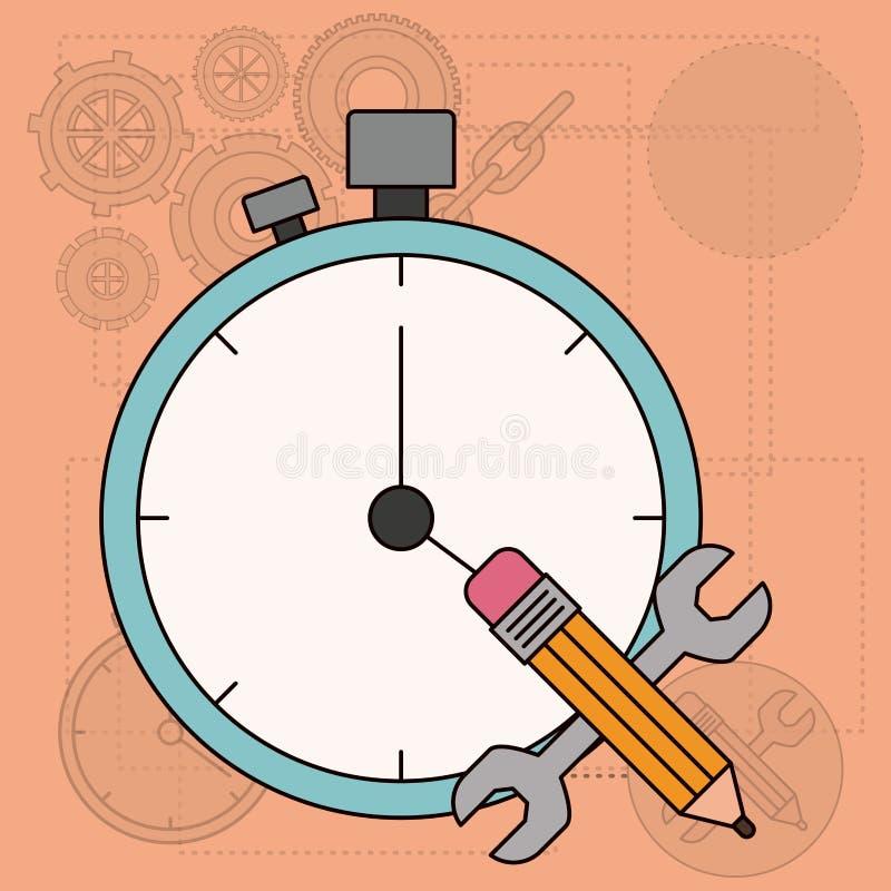 Bakgrund med tid som planerar för utveckling av konstruktionen vektor illustrationer