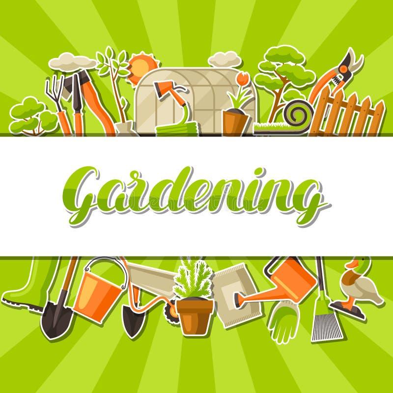 Bakgrund med trädgårds- hjälpmedel och objekt Säsong som arbeta i trädgården illustrationen royaltyfri illustrationer