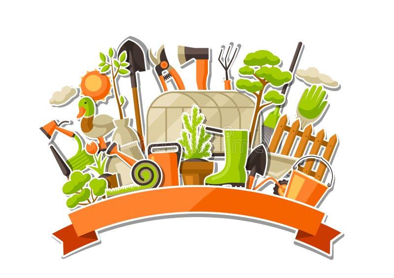Bakgrund med trädgårds- hjälpmedel och objekt Säsong som arbeta i trädgården illustrationen stock illustrationer