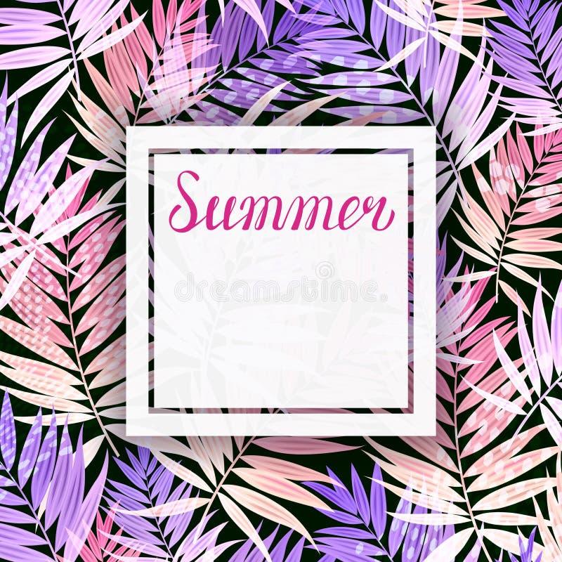 Bakgrund med tropiska palmblad Hälsningkort, inbjudan för feriesommarparti med bokstäver stock illustrationer