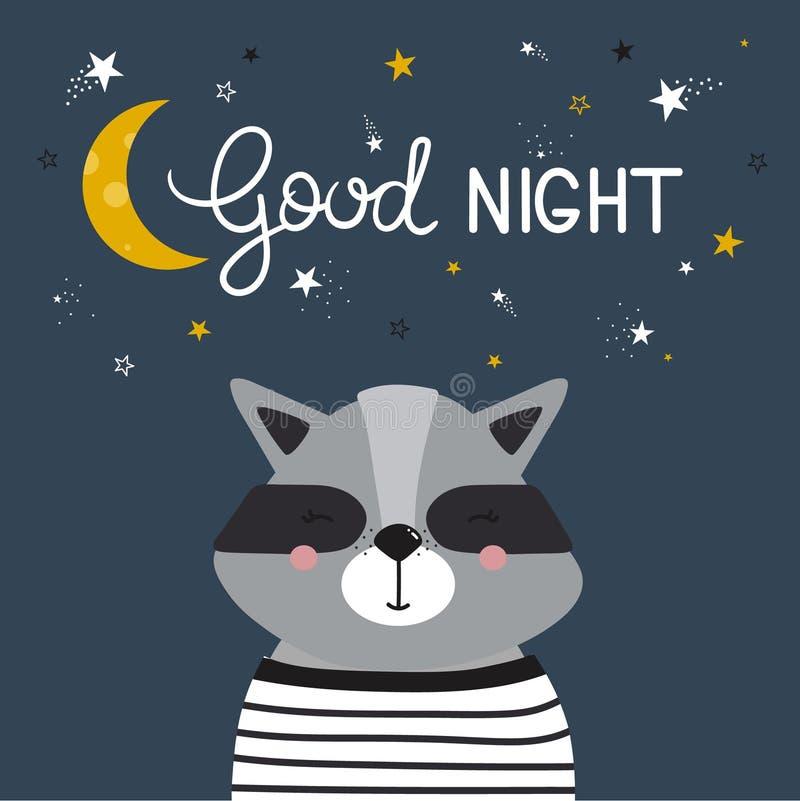 Bakgrund med tvättbjörnen, månen, stjärnor och text vektor illustrationer