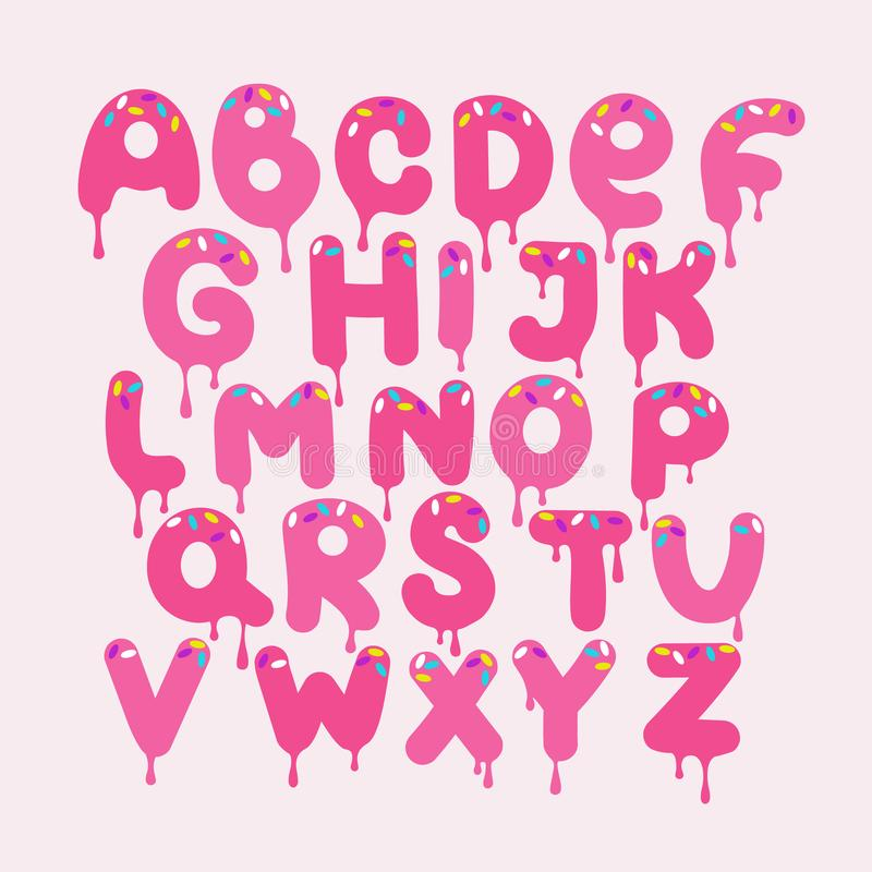 Bakgrund med uppsättningen av dekorativa engelska bokstäver stock illustrationer