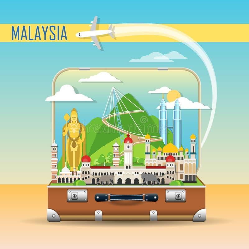 bakgrund mer mitt portföljlopp Resväska med gränsmärken av Malaysia vektor illustrationer