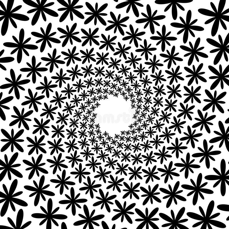 Bakgrund modell, svartvit spiral modell Runda centrerad rastrerad illustration Blomma kronblad, kronblad, rörelse stock illustrationer