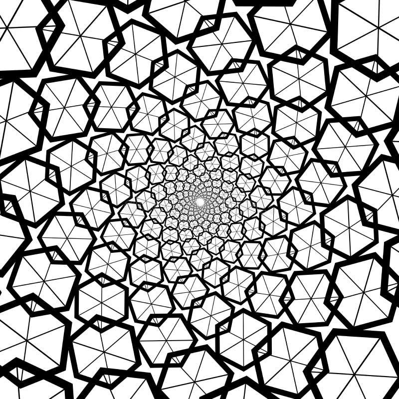 Bakgrund modell, svartvit spiral modell Runda centrerad rastrerad illustration Sexhörning honungskaka, honung, mitt royaltyfri illustrationer