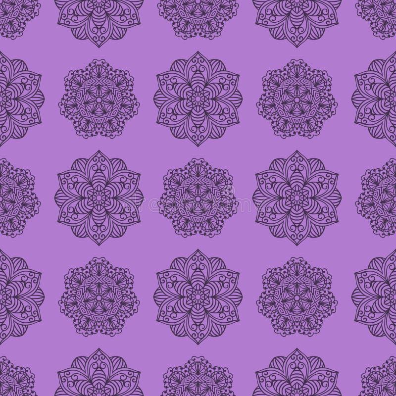 Bakgrund paisley för modell för dekorativ dekorativ indisk design för klotter för blomma för mehndi för hennatatueringbrunt sömlö royaltyfri illustrationer