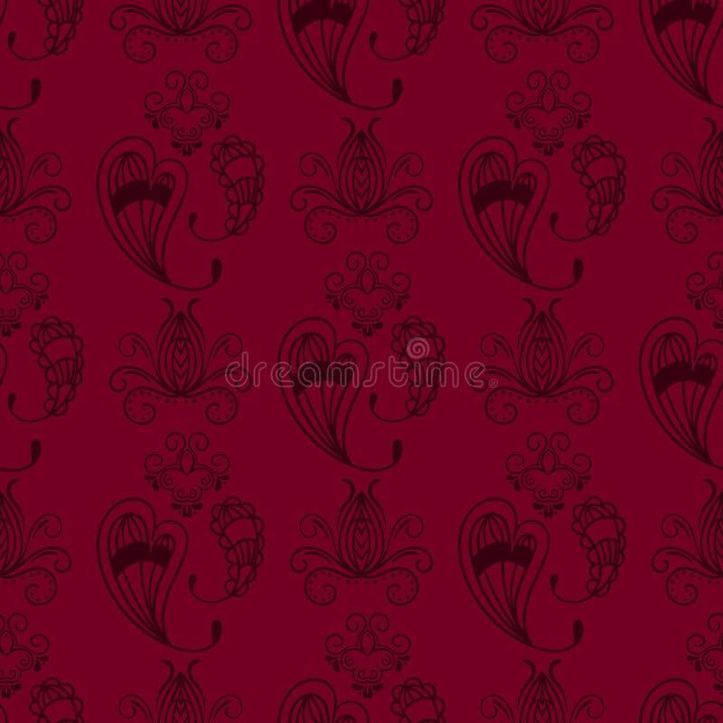 Bakgrund paisley för modell för dekorativ dekorativ indisk design för klotter för blomma för mehndi för hennatatueringbrunt sömlö stock illustrationer