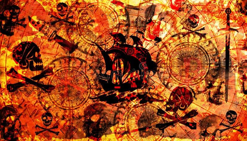 bakgrund piratkopierar royaltyfri illustrationer