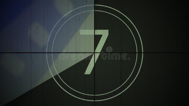 Bakgrund sju för nummer 7 för filmtappningnedräkning fotografering för bildbyråer