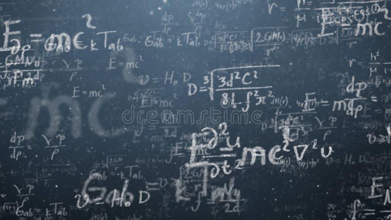 Bakgrund sköt av svart tavla med vetenskapliga och algebraiska formler och graphs skriftligt på den i diagram Affär royaltyfri fotografi