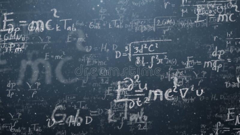Bakgrund sköt av svart tavla med vetenskapliga och algebraiska formler och graphs skriftligt på den i diagram Affär royaltyfria bilder