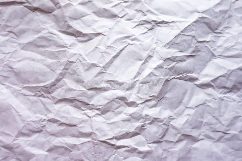 Bakgrund Skrynkligt vitt ark av papper royaltyfria foton
