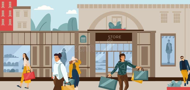 bakgrund som isoleras ?ver folkshoppingwhite Moderiktiga tecknad filmtecken på modeboutique, stadsgataplats med att bekläda uttag royaltyfri illustrationer
