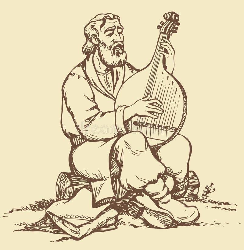 bakgrund som tecknar den blom- gräsvektorn Den gamla ukrainska musikern spelar bet vektor illustrationer