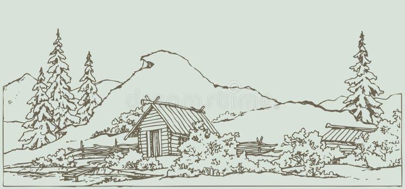 bakgrund som tecknar den blom- gräsvektorn Forntida lantligt landskap royaltyfri illustrationer