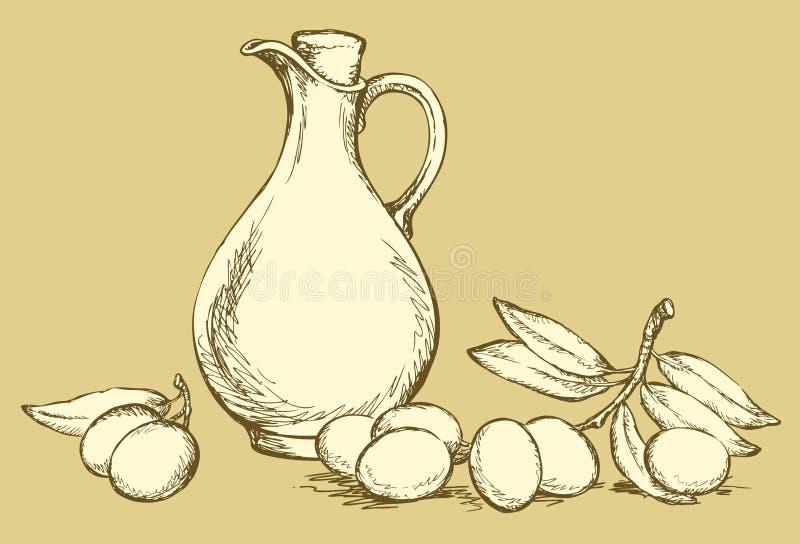 bakgrund som tecknar den blom- gräsvektorn Stilleben av olja i tillbringare och oliv royaltyfri illustrationer