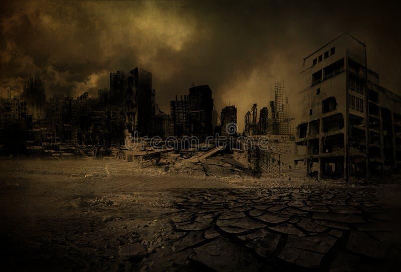 Bakgrund - storstad förstörd V2 royaltyfri illustrationer